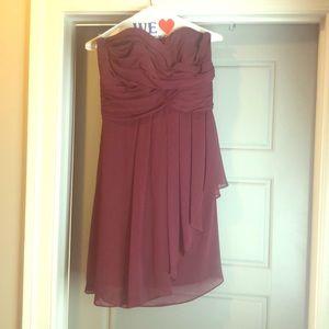 Wine strapless dress